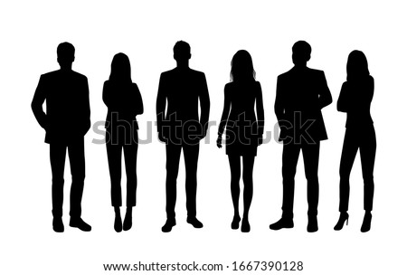 Vector silhouettes of  men and a women, a group of standing  business people, black color isolated on white background Royalty-Free Stock Photo #1667390128