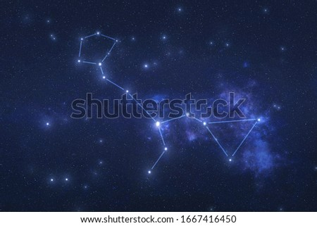 Cetus Constellation in outer space. Whale constellation stars with constellation lines Elements of this image were furnished by NASA  Royalty-Free Stock Photo #1667416450