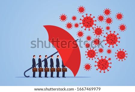 Red umbrella protecting merchants immune novel coronavirus pneumonia infection Royalty-Free Stock Photo #1667469979