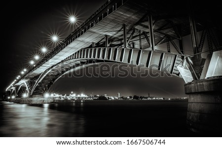 A night picture of the the Peace Bridge border crossing between Canada and the United States which runs between Fort Erie, Ontario and Buffalo, New York