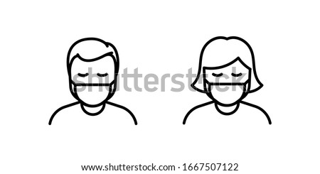 Man and Woman in medical face protection mask. Vector icon of depressed and tired people wearing protective surgical mask. illustration for concepts of disease, sickness, alergies, pollution, corona v #1667507122