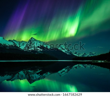 Northern Lights, Jasper National Park Royalty-Free Stock Photo #1667582629