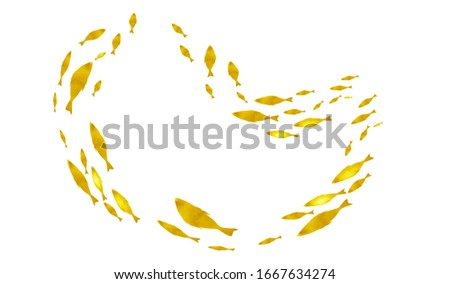 Silhouettes of groups of  fishes on white. Watercolor #1667634274