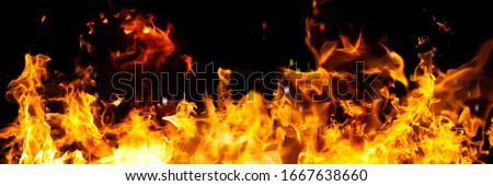 Panorama Fire flames on black background. fire burst texture for banner backdrop. #1667638660