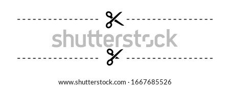 Scissors. Scissors with cut lines, isolated on white background. Scissors different shapes. Scissor icon. Vector illustration.