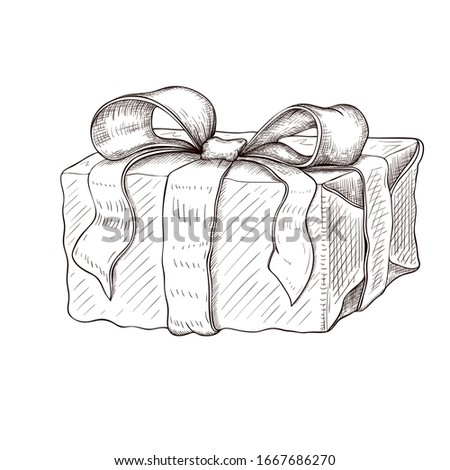 vintage gift box hand drawn. engraved present illustration isolated on white background. present box icon with lush bow and ribbon. wrapped gift sketch. monochrome line art. Silhouette of box. #1667686270