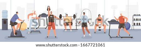 Different cartoon people exercising at modern gym vector flat illustration. Athletic man and woman on training apparatus have various physical exercises enjoy sport activity #1667721061