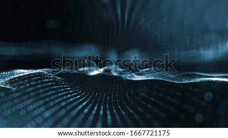 3d rendering background of microworld or sci-fi theme with glowing particles form curved lines, 3d surfaces, grid structures with depth of field, bokeh. Deep blue wave forms #1667721175