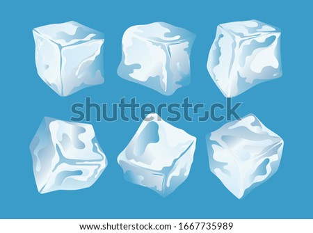 a set of ice cubes, vector illustration #1667735989
