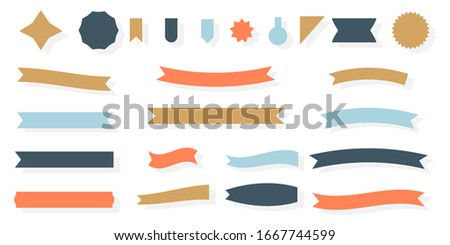 Craft ribbon flat set. Decorative vintage paper banner. Empty simple ribbons template different shape. Blank retro flag, tape for text, price tag, sale label. Isolated on white vector illustration Royalty-Free Stock Photo #1667744599