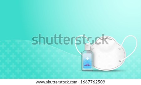 Alcohol Gel Hand Sanitizer and Disposable Hygienic or medical Mask on green background . Vector illustration .  #1667762509