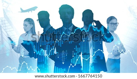 Five successful confident managers working together in abstract city with double exposure of blurry digital chart. Concept of teamwork and stock market. Toned image #1667764150
