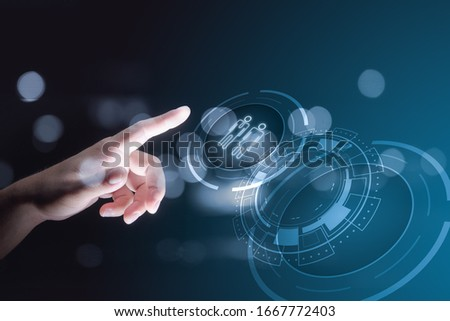 Hand touching on virtual screen with Human Resources HR Recruitment Employment Headhunting Concept #1667772403