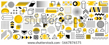Set of geometric shapes. Memphis design retro elements. Collection trendy halftone geometric shapes. Retro funky graphic, 90s trends designs and vintage print element collection – stock vector Royalty-Free Stock Photo #1667876575