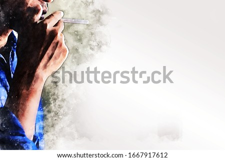 Abstract colorful hand of man holding smoke cigarette in the bedroom on watercolor illustration painting background. #1667917612