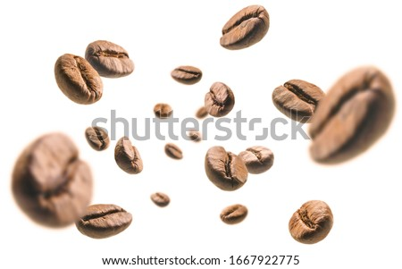Coffee beans levitate on a white background #1667922775