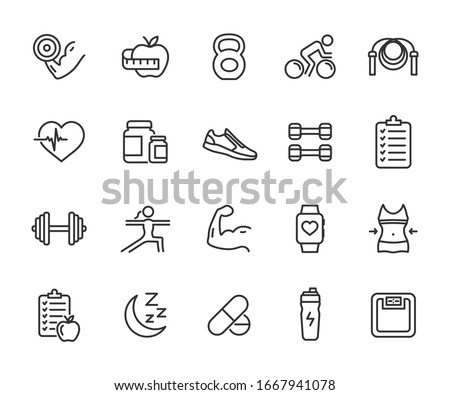 Vector set of fitness line icons. Contains icons gym, nutrition, cardio exercises, sports supplements, yoga, sleep, workout and more. Pixel perfect. #1667941078