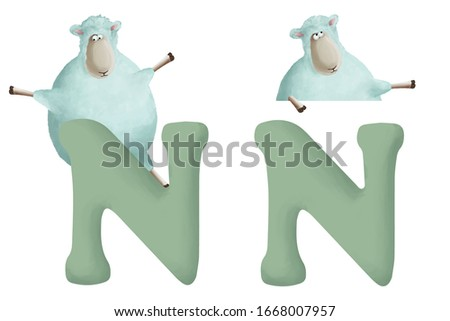 """Cute little sheep with letter """"N"""" on white background. Learn alphabet clip art collection on white background"""