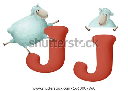 """Cute little sheep with letter """"J"""" on white background. Learn alphabet clip art collection on white background"""