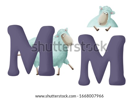"""Cute little sheep with letter """"M"""" on white background. Learn alphabet clip art collection on white background"""