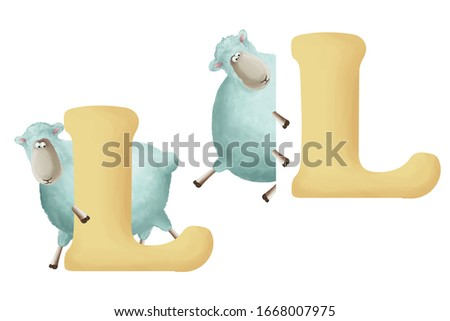 """Cute little sheep with letter """"L"""" on white background. Learn alphabet clip art collection on white background"""