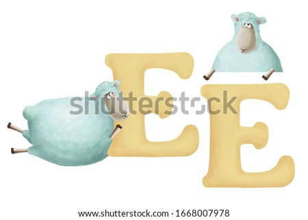 """Cute little sheep with letter """"E"""" on white background. Learn alphabet clip art collection on white background"""