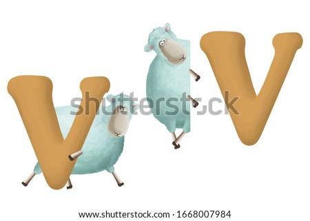"""Cute little sheep with letter """"V"""" on white background. Learn alphabet clip art collection on white background"""