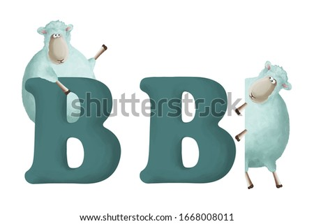 """Cute little sheep with letter """"B"""" on white background. Learn alphabet clip art collection on white background"""