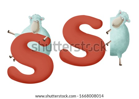 """Cute little sheep with letter """"S"""" on white background. Learn alphabet clip art collection on white background"""