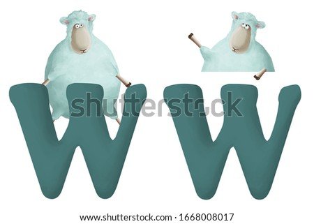 """Cute little sheep with letter """"W"""" on white background. Learn alphabet clip art collection on white background"""