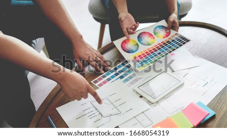 Creative Team Meeting to Discuss the Terms of Use of Original Product Colors for Product Design in Coworking Space, Teamwork modern Cooperation concept