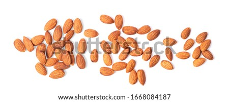 Almond nuts isolated on white background #1668084187