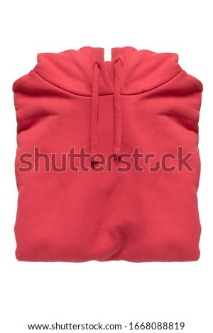 Red cotton folded hoody sweatshirt isolated over white Royalty-Free Stock Photo #1668088819
