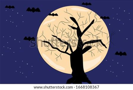 moon night midnight tree bat   moonlight #1668108367