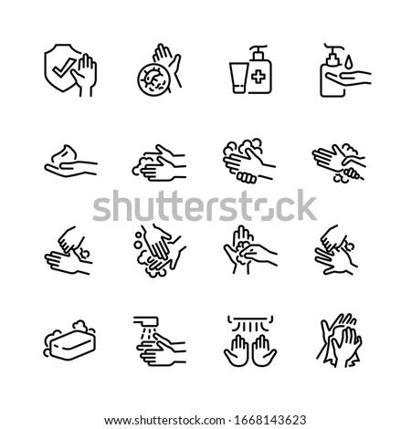 Hygiene thin line icon set 2, vector eps10. #1668143623