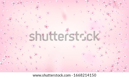 Nice Sakura Blossom Isolated Vector. Realistic Falling 3d Petals Wedding Frame. Japanese Funky Flowers Illustration. Valentine, Mother's Day Summer Nice Sakura Blossom Isolated on Rose #1668214150