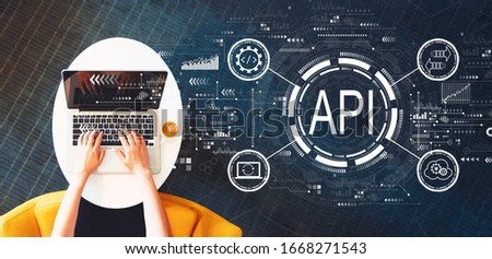 API - application programming interface concept API concept with person using a laptop on a white table