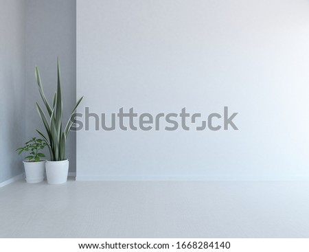 White empty minimalist room interior with vases on a wooden floor, decor on a lrge wall, white landscape in window. Background interior. Home nordic interior. 3D illustration #1668284140