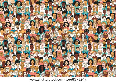 Young, middle age, senior adult women's men's children's seamless pattern background. Diversity multiracial, multiethnic crowd group people. Hand drawn line drawing doodle vector illustration poster #1668378247