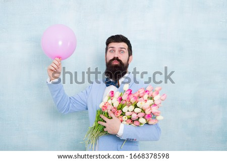 Dating and flowers. Happy bachelor hold tulips and balloon. Floral gift for dating anniversary. Valentines day speed dating. Womens day. Floral shop. Dating agency. #1668378598