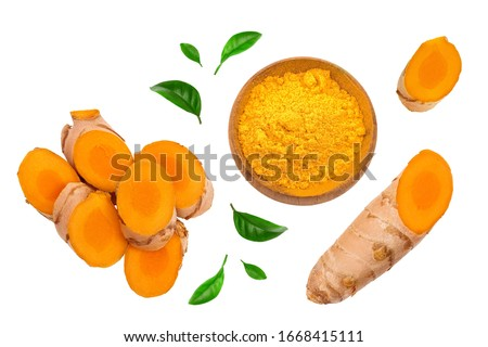 turmeric root slices isolated on white background. Top view. Flat lay #1668415111