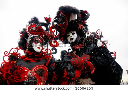 Two Red and Black masks in Venice, Italy. #16684153