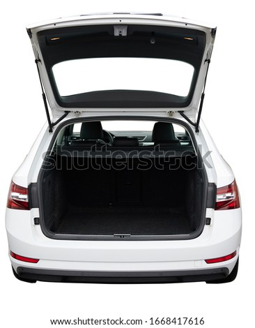 Open clean trunk of SUV car back view isolated Royalty-Free Stock Photo #1668417616