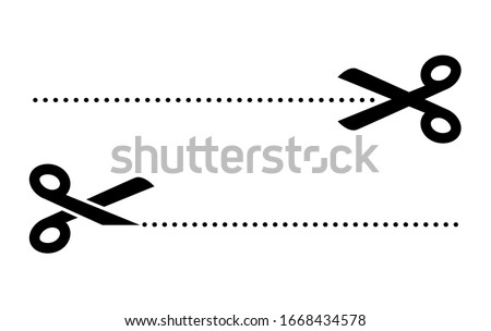 Scissor cut line icon. Black scissor border paper background cutout line coupon.