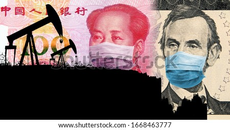 Oil price war triggered by coronavirus. Oil prices are crashing. Silhouette of oil pumps that transforms to the chart with oil price vs USD (as of March 2020). Dollar and Yuan with face masks. Royalty-Free Stock Photo #1668463777