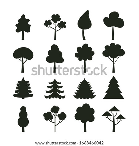 Black silhouette shadow tree isolated set. Vector flat graphic design cartoon illustration #1668466042
