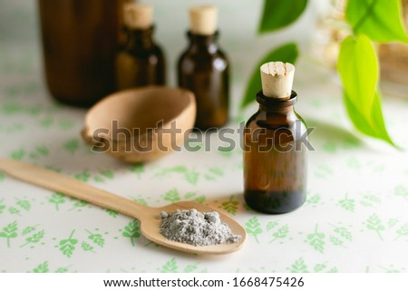 Natural face mask with bottles for beauty routine #1668475426