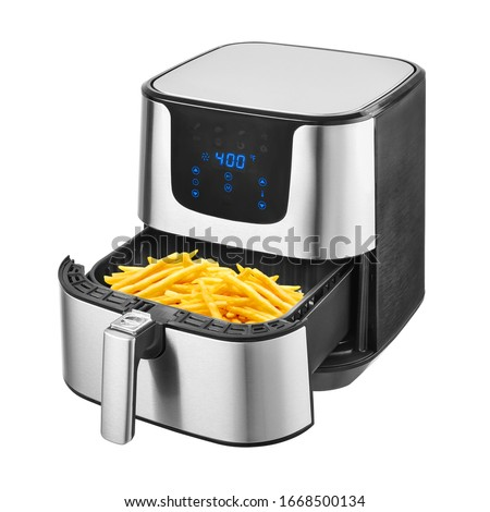 5.3 Quart Air Fryer Isolated on White. Brushed Stainless Steel Electric Deep Fryer Side View. Silver Modern Domestic Household & Small Kitchen Appliances. 1500 Watts Convection Oven & Oilless Cooker #1668500134