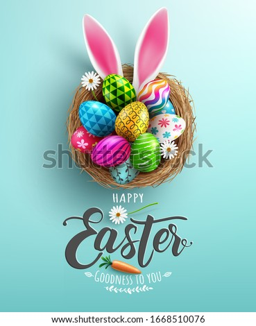 Easter poster and banner template with Easter eggs in the nest on light green background.Greetings and presents for Easter Day in flat lay styling.Promotion and shopping template for Easter #1668510076