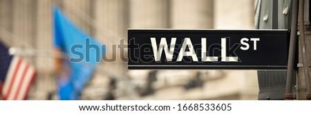 New York sign panoramic on Wall Street, Manhattan New York USA